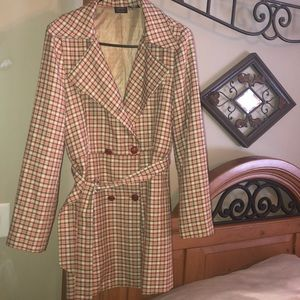 Nicole Miller plaid  jacket coat size 10